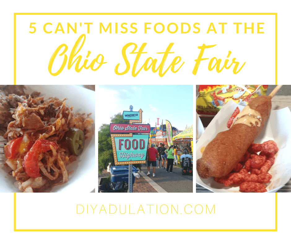 Collage of Food and the State Fair Food Highway Sign with text Overlay - 5 Can't Miss Foods at the Ohio State Fair