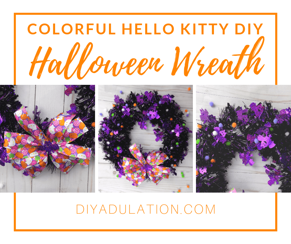 Collage of Halloween Wreath with Pom Poms with text overlay - Colorful Hello Kitty DIY Halloween Wreath