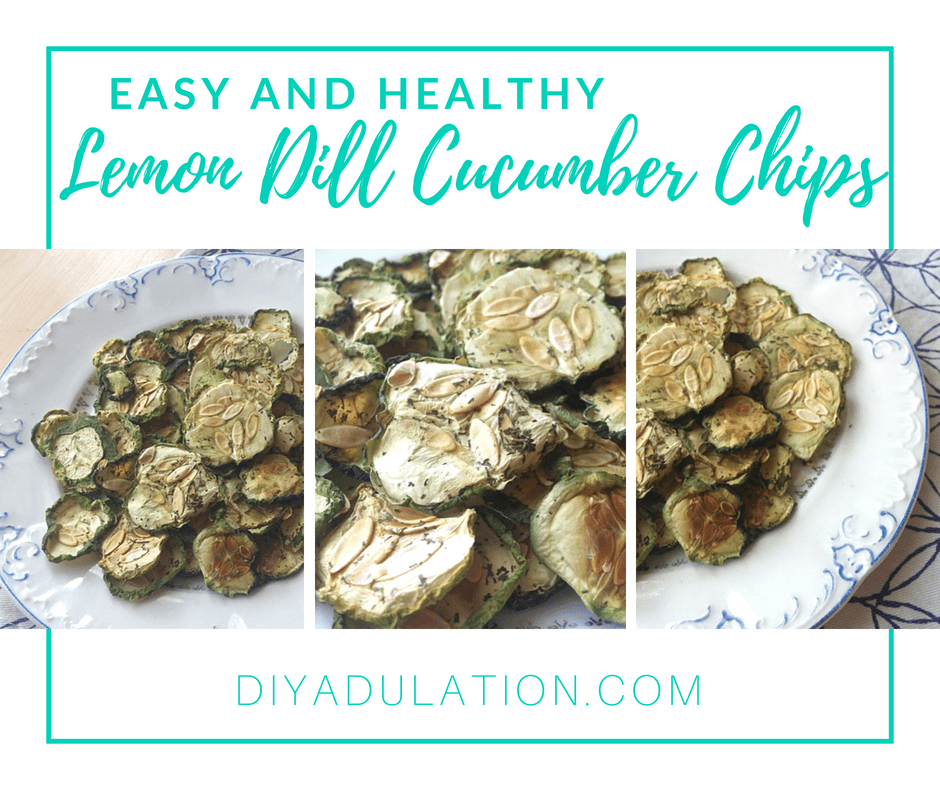 Collage of Cucumber Chips on Plate with text overlay: Easy and Healthy Lemon Dill Cucumber Chips