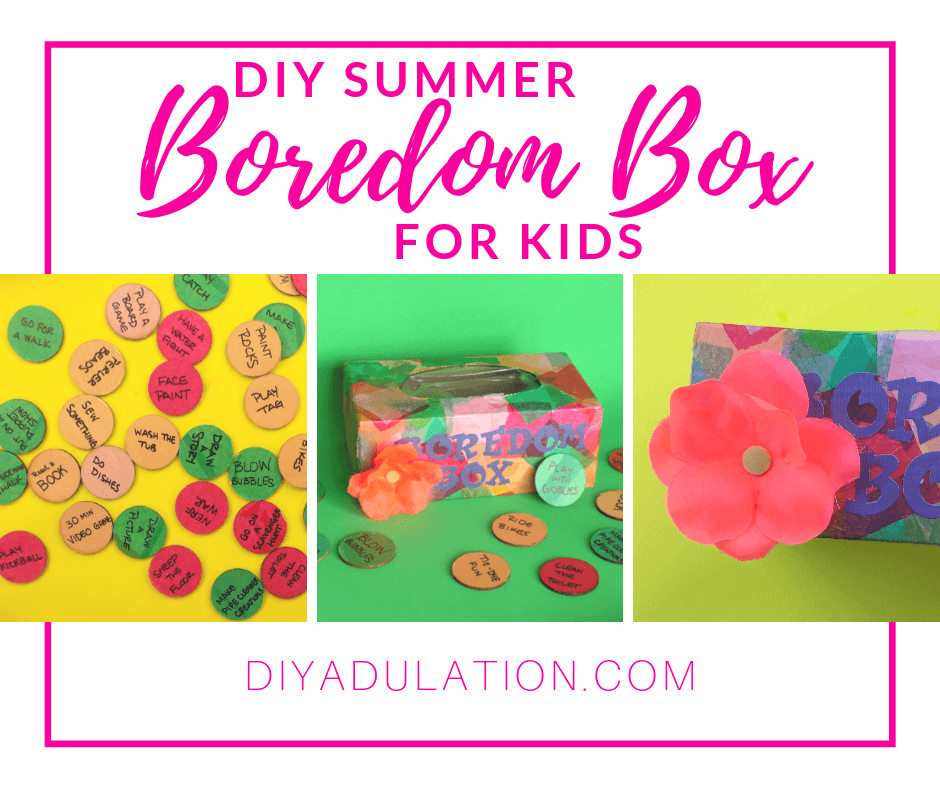 Collage of Colorful Discs and Tissue Box with Flower with text overlay - DIY Summer Boredom Box for Kids