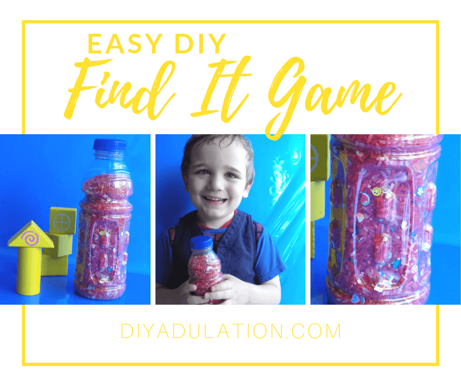 Collage of Photos of Find It Game with text overlay - Easy DIY Find It Game