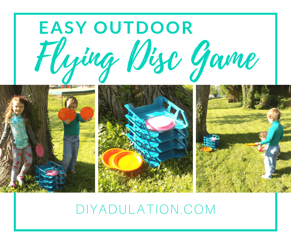 Collage of Kids Playing Flying Disc Game with text overlay - Easy Outdoor Flying Disc Game