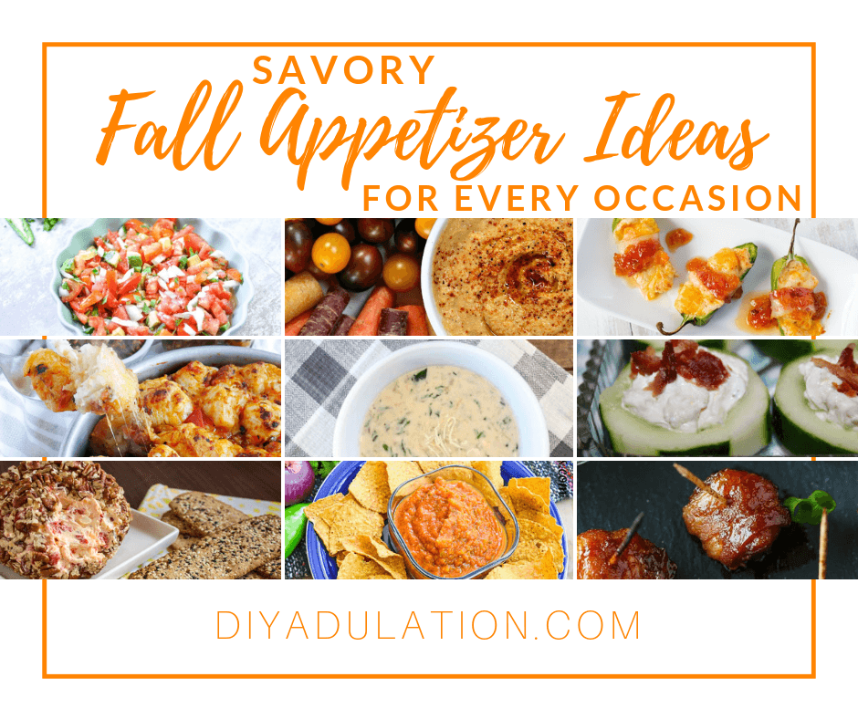 Collage of fall appetizers with text overlay: Savory Fall Appetizer Ideas for Every Occasion