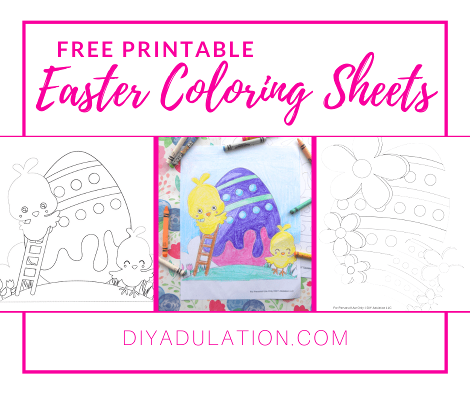 Coloring Sheet next to crayons with text overlay - Free Printable Easter Coloring Sheets