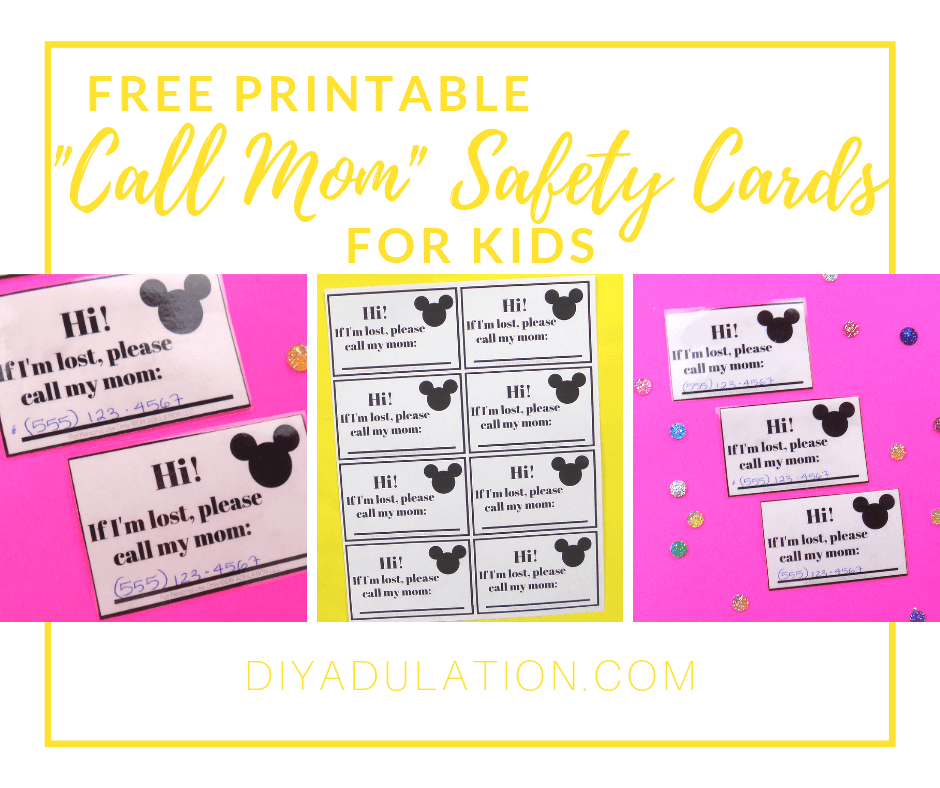 Collage of Laminated Call Mom Cards nexts to Glitter Cabochons with text overlay - Free Printable _Call Mom_ Safety Cards for Kids