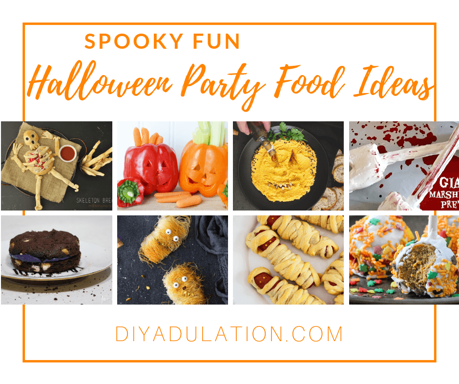 Collage of Halloween food with text overlay: Spooky Fun Halloween Party Food Ideas