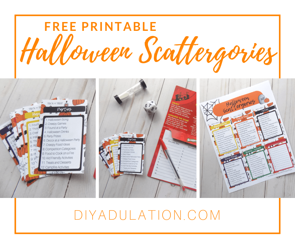 image about Printable Scattergories named Absolutely free Printable Halloween Scattergories Recreation - Do-it-yourself Adulation