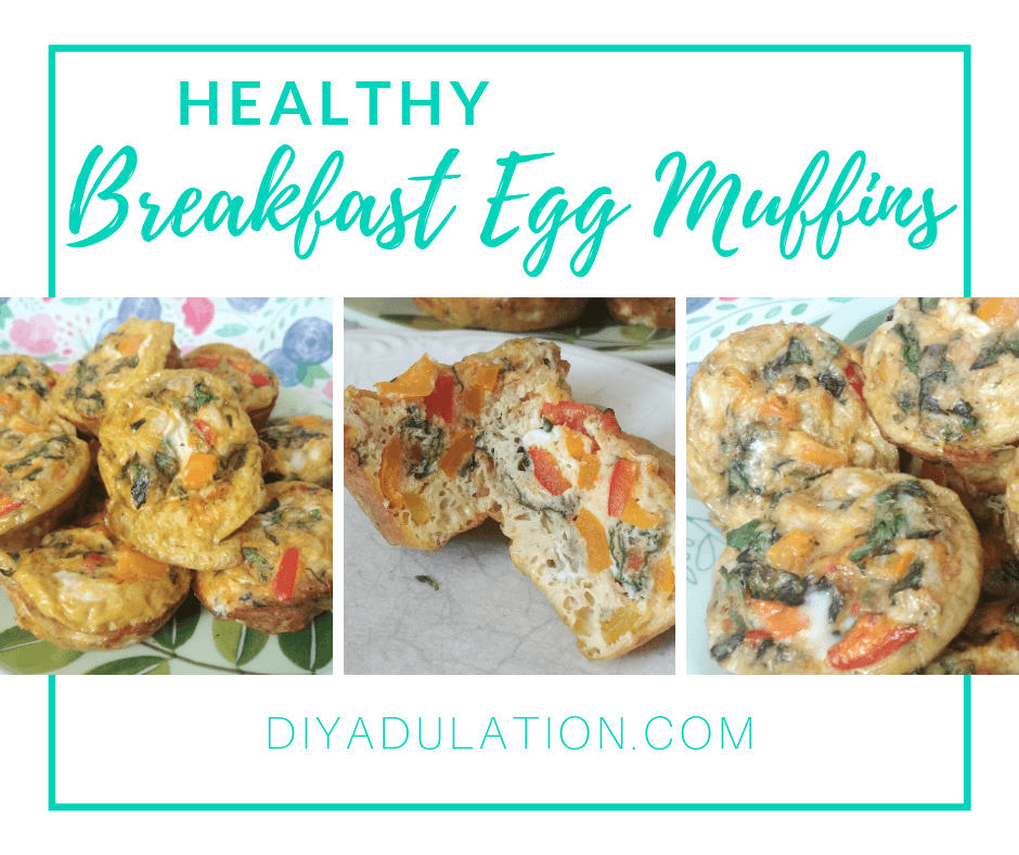 Collage of Omelet Muffins on Plate with text overlay - Healthy Breakfast Egg Muffins