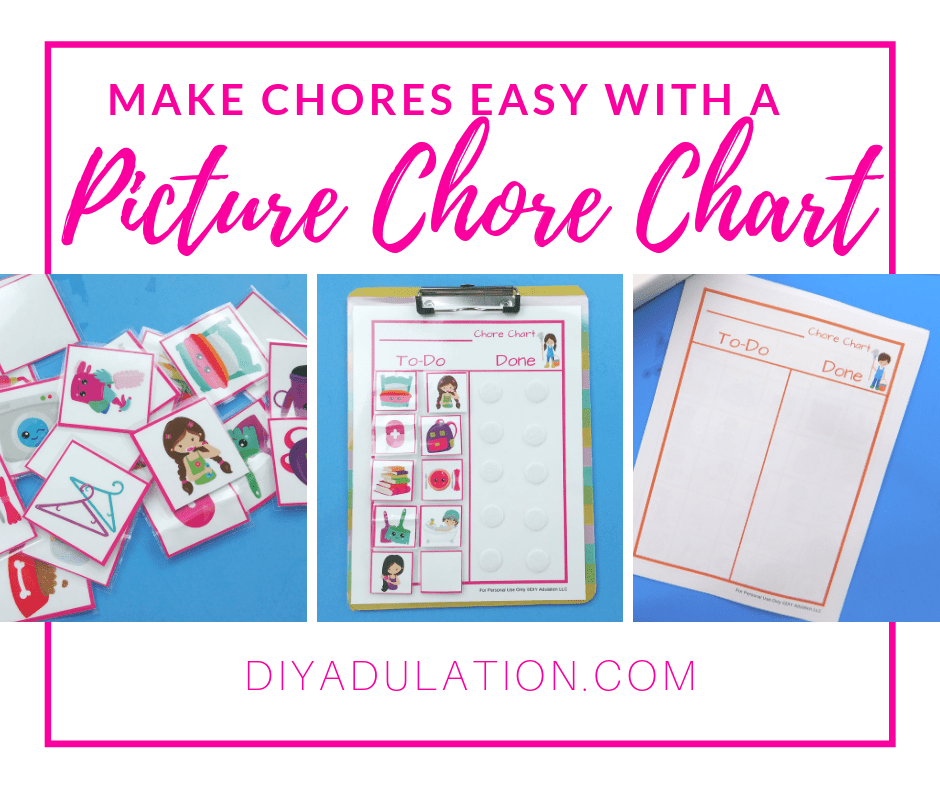 Collage of Chore Charts with text overlay - Make Chores Easy with a Picture Chore Chart