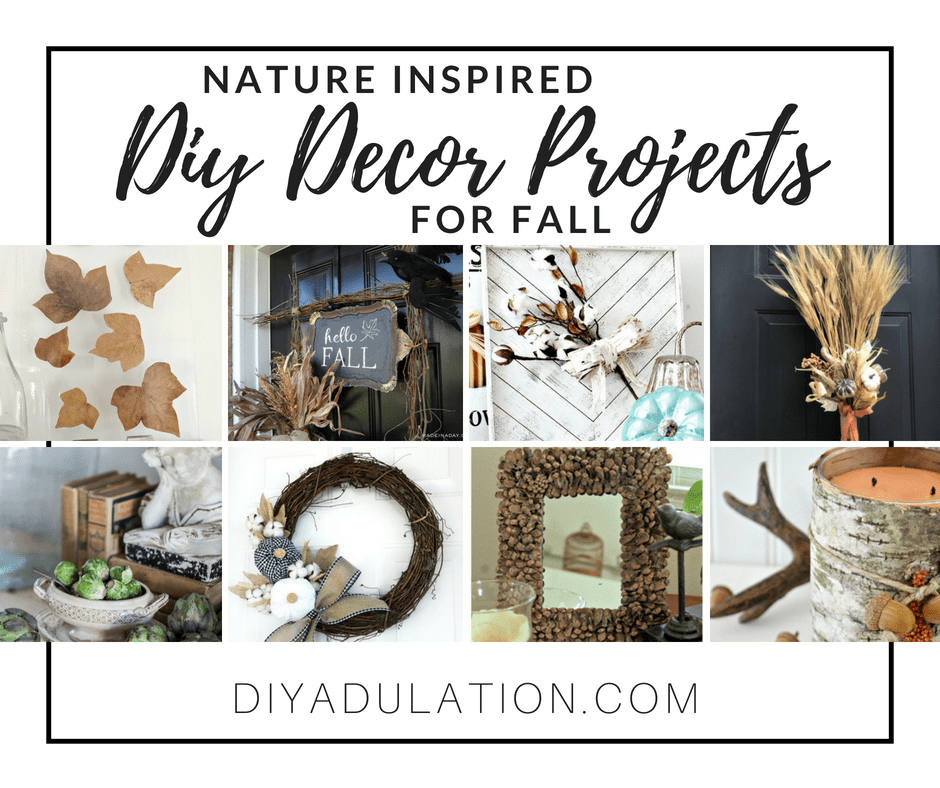Collage of Nature Decor Ideas with text overlay: Nature Inspired DIY Decor Projects for Fall