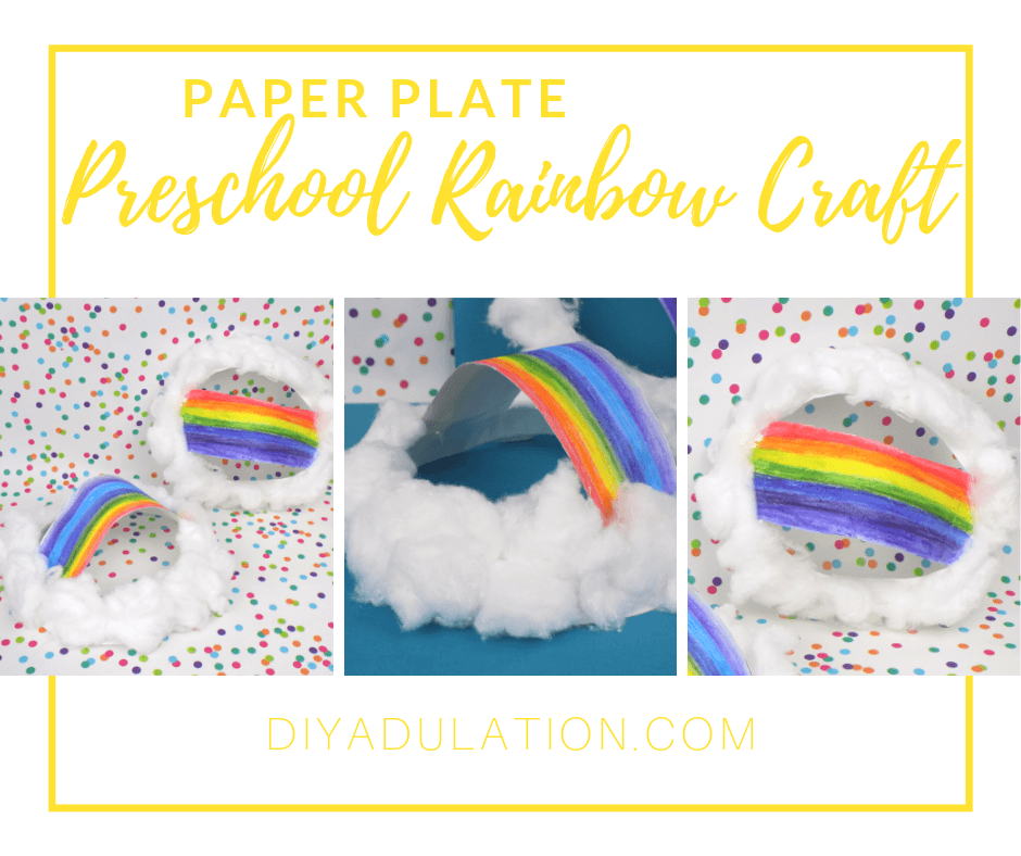 Collage of Paper Plate Rainbow Crafts with text overlay - Paper Plate Preschool Rainbow Craft