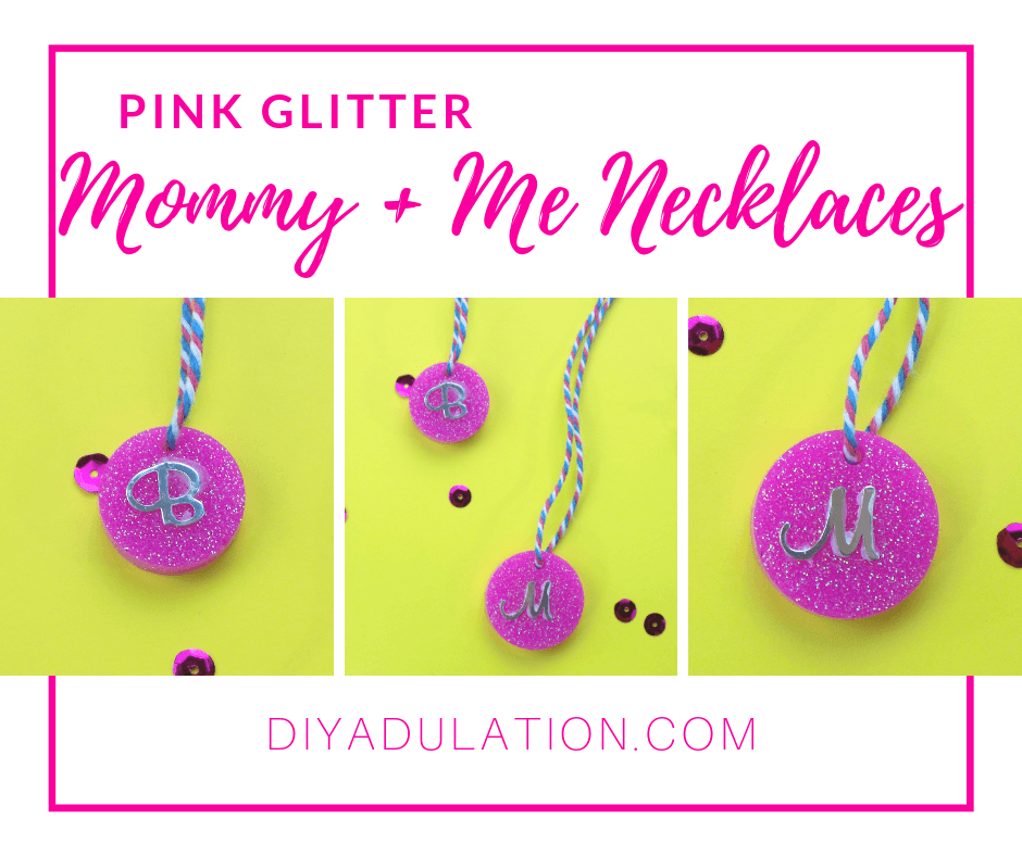 Collage of Glittery Monogram Necklaces with text overlay - Pink Glitter Mommy and Me Necklaces