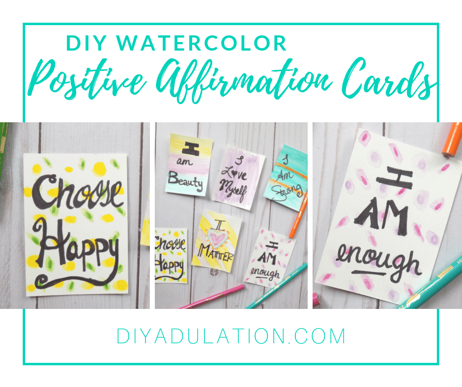 Collage of Positive Affirmation Cards Next to Pencils and Watercolor Cards with Text Overlay - DIY Watercolor Positive Affirmation Cards