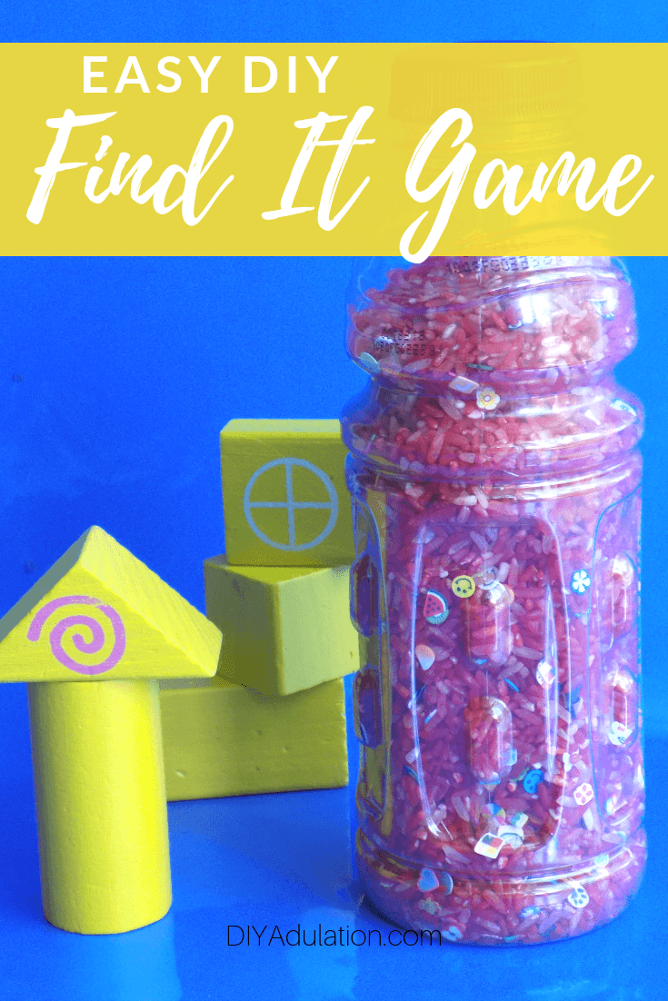 Find It Game next to Blocks with text overlay - Easy DIY Find It Game