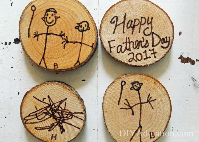 Wood coasters with kids artwork