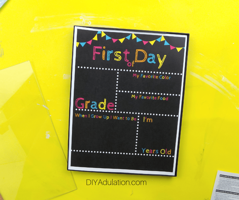 First Day of School Printable in Snap Frame