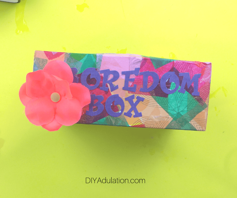 Flower Glued on Colorful Box