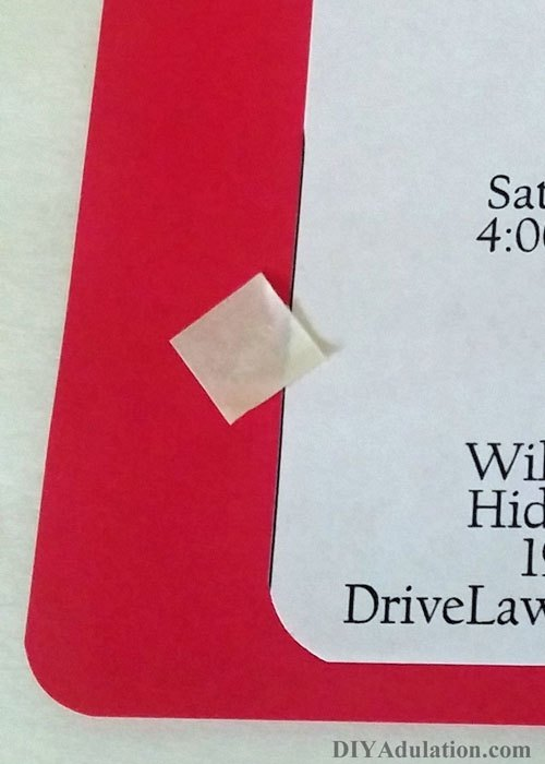 Double Sided square sticker on invitation
