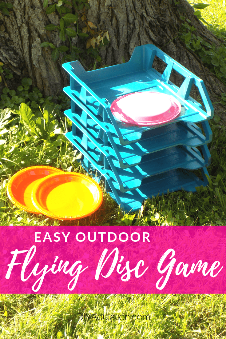 Flying Disc Game Next to Tree with text overlay - Easy Outdoor Flying Disc Game