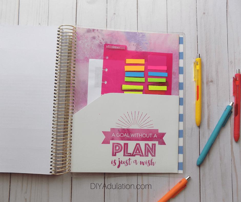 Folder Page of Goal Getter Planner