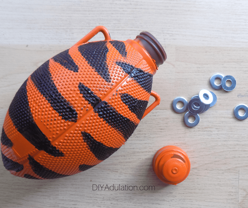 Football Water Bottle with Cap Off and Washers