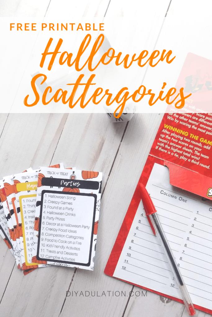 Free Printable Halloween Scattergories Game