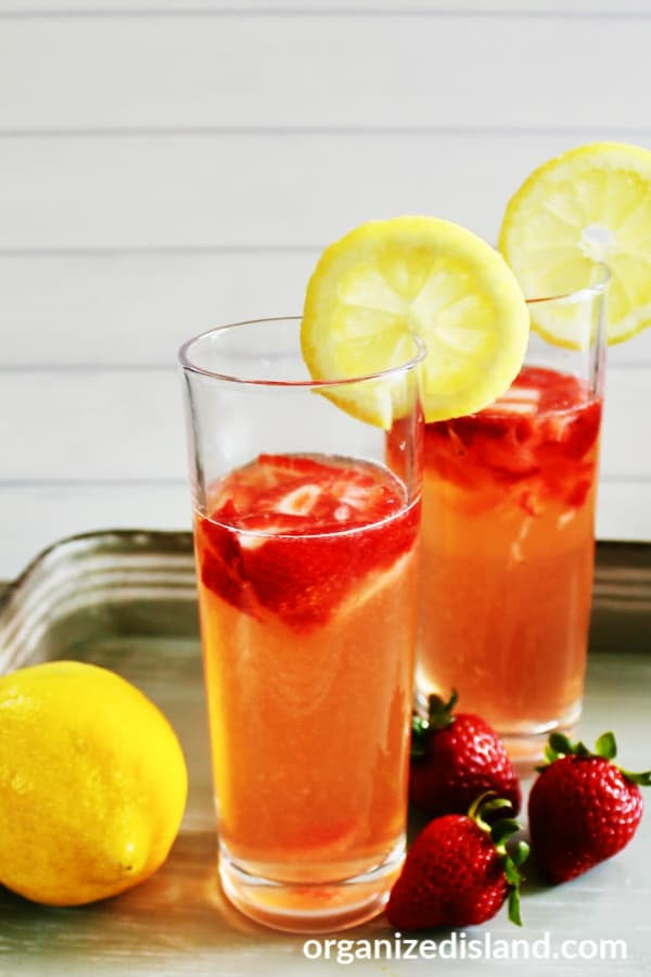 Glasses of Strawberry Lemonade Garnished with Lemon Slices