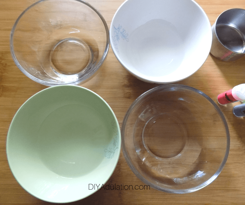 Glass Bowls with Water in Them