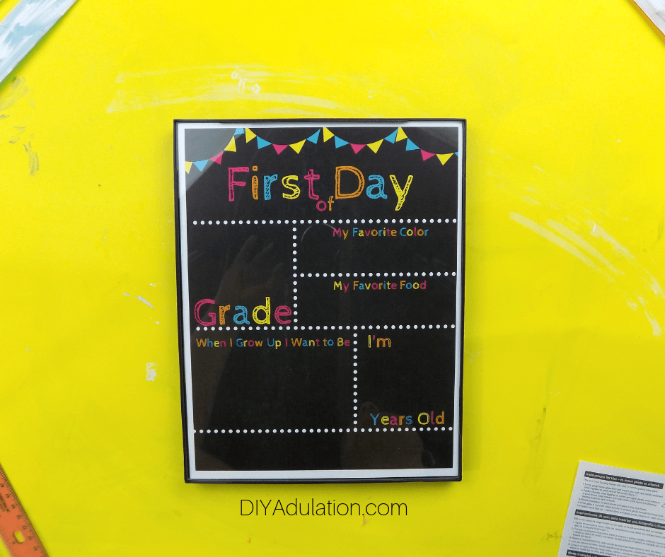 Glass over First Day of School Printable in Snap Frame