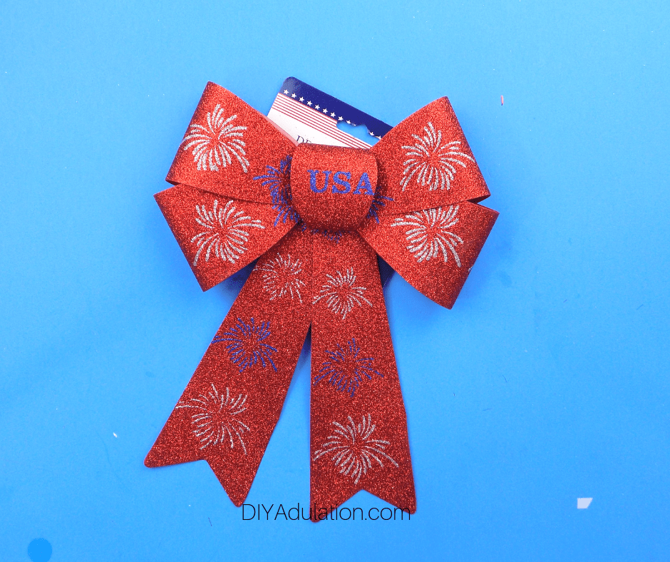 Glittery Fireworks Bow with Tag