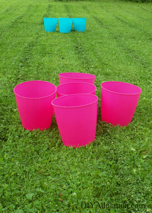 Buckets set up for Glow Pong on Yard