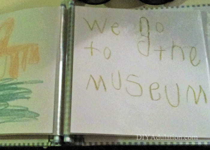 Open museum pages in kids mothers day book