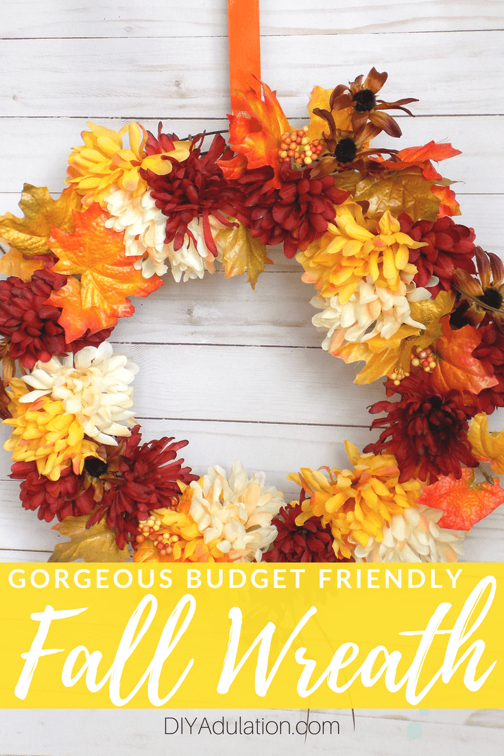 Collage of Photos Orange, Red, and Cream Floral Fall Wreath with text overlay: Gorgeous Budget Friendly Fall Wreath