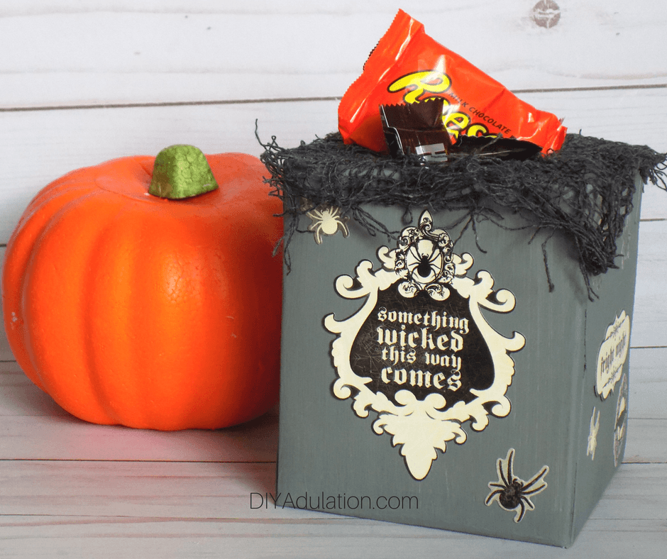Halloween Candy Container Next to Pumpkin