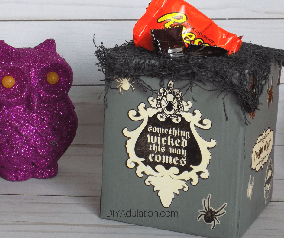 Halloween Candy Container Next to Purple Owl