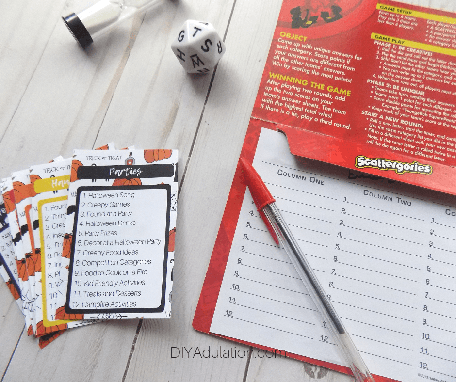 Halloween Scattergories Printable Cards Next to Game Elements