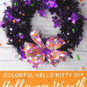Halloween Wreath with Pom Poms with text overlay - Colorful Hello Kitty DIY Halloween Wreath