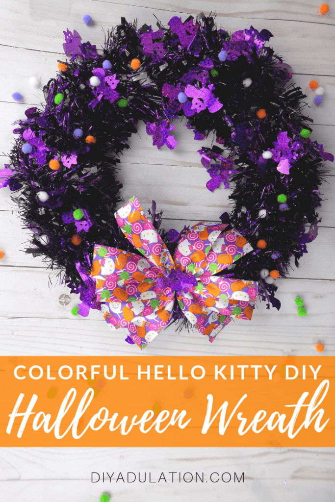 Colorful Hello Kitty DIY Halloween Wreath