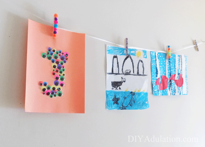 Hanging children's artwork
