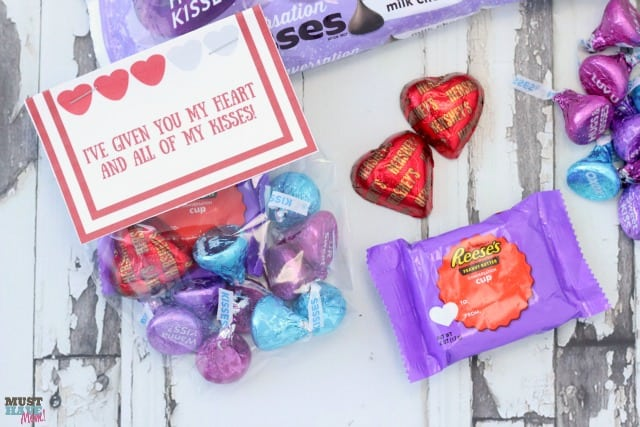 Candy filled bags with Valentine Topper