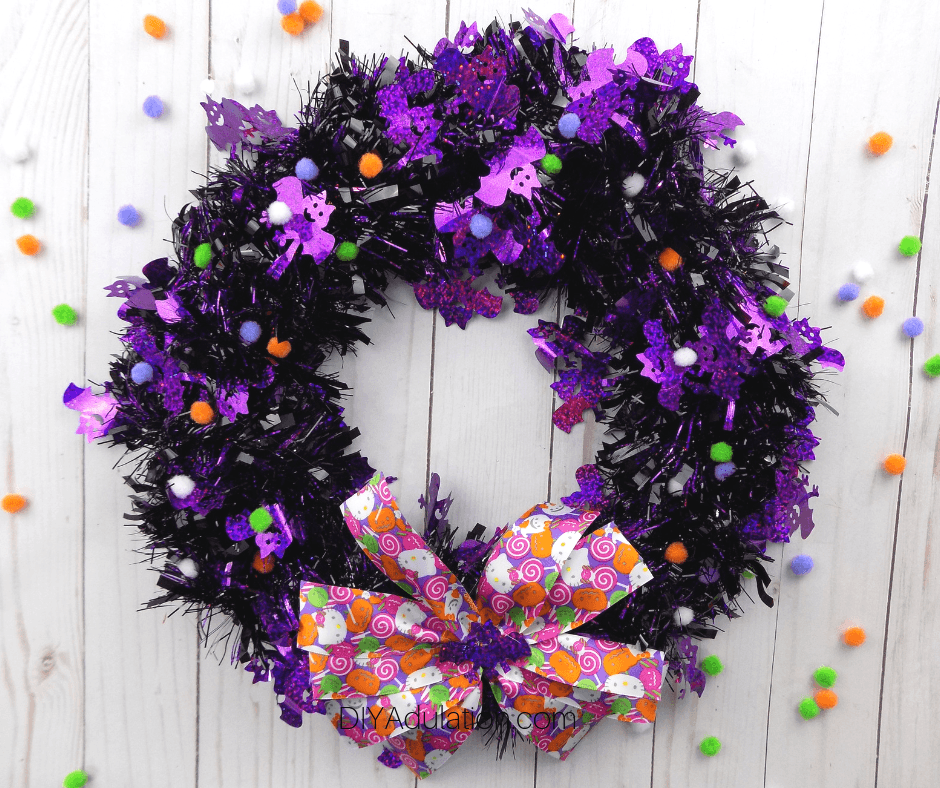 Hello Kitty Halloween Wreath with Pom Poms