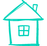 teal drawn house icon