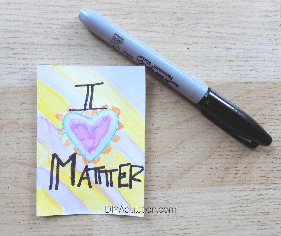 I Matter Watercolor Affirmation Card next to Sharpie