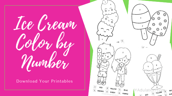 Ice Cream Color by Number Printables Collage with text