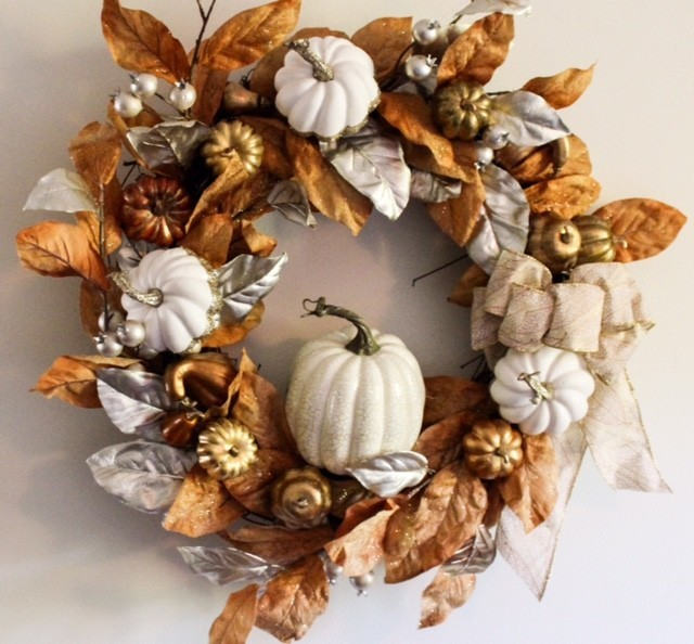Silver and copper wreath with cream colored fall accents
