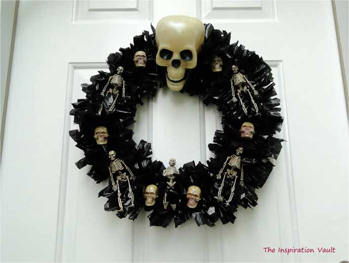 Black Halloween Wreath with Skulls