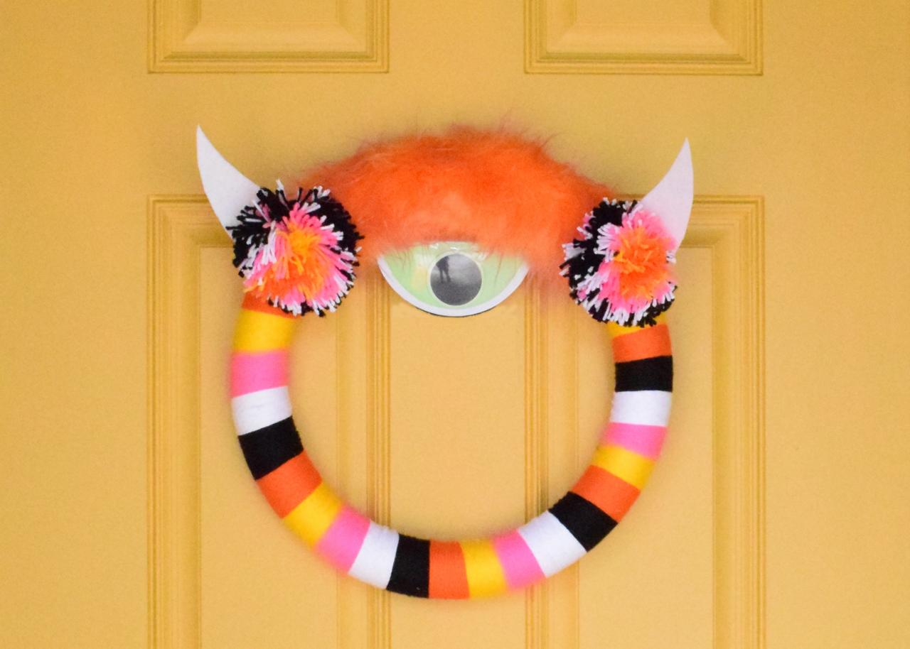 Colorful Monster Wreath on Door