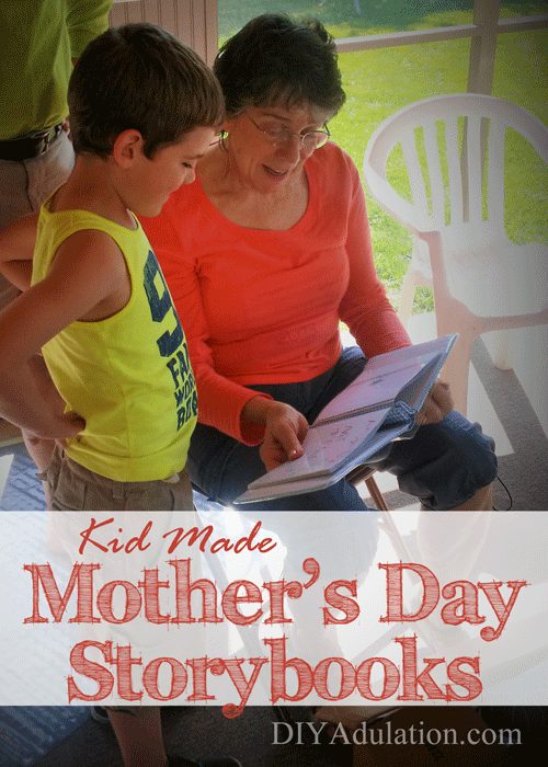 Child and woman reading book together with text overlay - Kid Made Mother's Day Storybooks