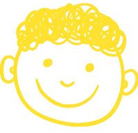 Yellow drawing of child's face