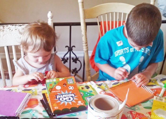 Kids Crafting at Kitchen Table
